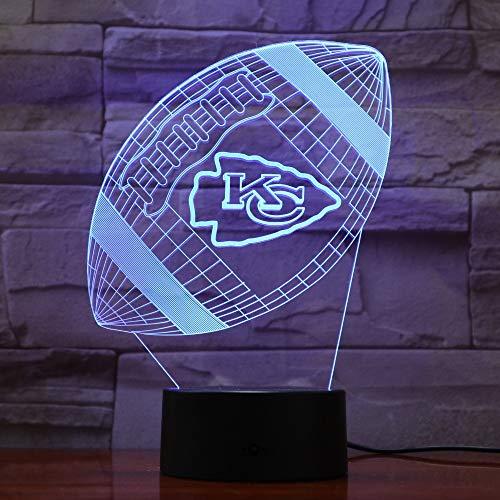 Kansas City Chiefs Rugby 3D Lava Lampe Kreative 7 Farbwechsel Led Nachtlicht Geschenke Schlafzimmer Tischlampe -