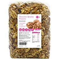 PINK SUN Nueces 1kg Mitades y Pedazos Crudas No tostado Sin Sal Natural Pieles 1000g a Granel Frutos Secos Sin Cáscara - Raw Walnut Halves and Pieces Nuts Unsalted Bulk