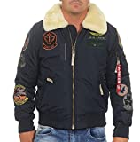 Alpha Industries Herren Jacken / Bomberjacke Injector III Patch blau 2XL