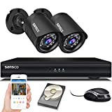 SANSCO Smart Home 1080p CCTV Camera System, 4CH DVR Recorder with 1TB Internal Hard Drive, (2) 2.0MP HD Indoor & Outdoor Bullet Cameras with Full Metal Casing (1920×1080, Easy Mobile and PC Access, 24/7 Continuous & Motion Recording)