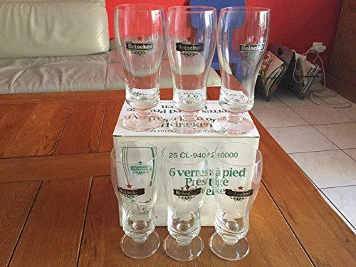 Heineken lot de 6 verre a biere a pied prestige 25 cl neuf