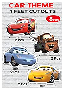 WoW Party Studio McQueen Car 1ft Cardstock Cutouts for Happy Birthday Decorations - 8Pcs