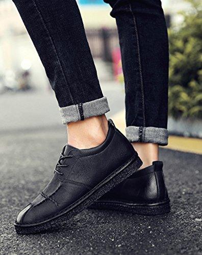 2018 Nouveau Printemps Hommes En Cuir Marron Branché Mode Hommes Casual Chaussures Derby Oxford Chaussures Black