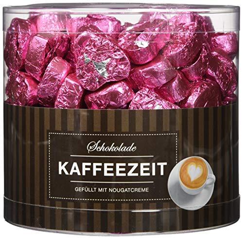 Preisvergleich Produktbild Günthart 150 rosa Schokoladen Herzen mit Nougatfüllung - Nougatcreme Kaffeezeit