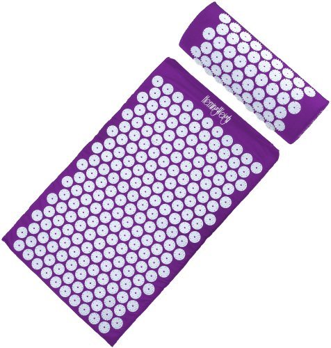 HemingWeigh Complete Acupressure Mat and Pillow Set with Bonus Carry Bag (Purple) by HemingWeigh
