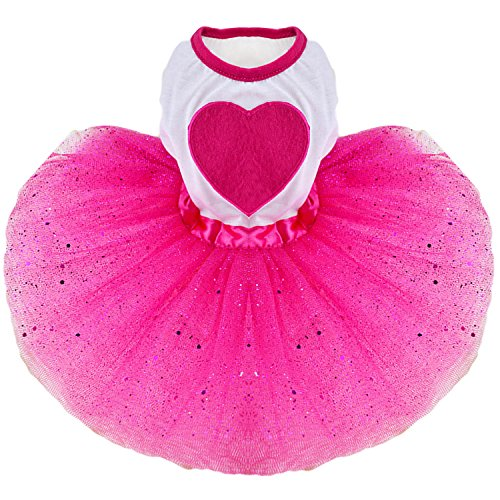 Dulce perro de mascotas tutú falda vestido de ropa traje de vestir brillo con el corazón ornamento de amor para el día de fiesta de boda de vacaciones XL