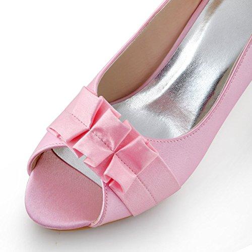 Elegantpark EP2108 Peep Zehen Schleife Gefalte Satin Pumps Hoch Damen Brautschuhe Pink