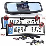 Autokennzeichen Rückfahrkamera mit Einparkhilfe für Vorne und Hintern + Spiegelmonitor Monitor für KFZ Auto Transporter, Van, Wohnmobile & Bus Car Camera Kamera