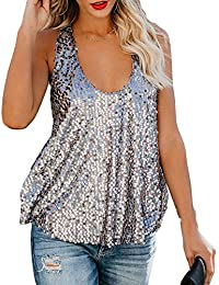 1c992edb385c2a Frauen Sexy Sleeveless Bling Sequined Tank Top Loose Vest Night Club  Camisole