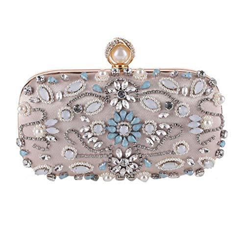 cool show Abendtasche mit Perlen, für Hochzeiten, Clutch, B Apricot - Größe: Einheitsgröße