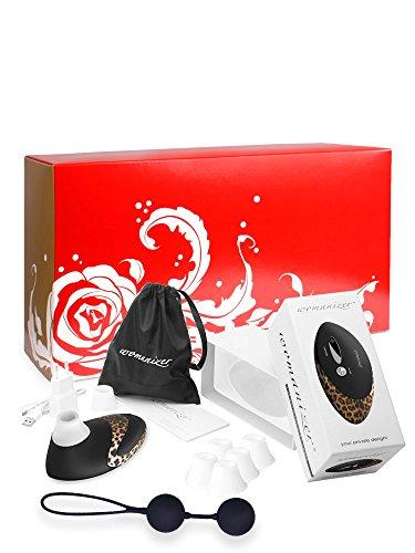 Womanizer Sparbox: Womanizer Pro W500 Leo/Schwarz + 5 passende Ersatzköpfe + Soft Touch Liebeskugel