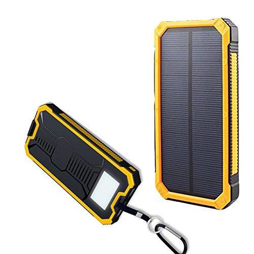 Móvil Solar banco de la energía de batería Tingso 20000mAh Dual USB Power Bank con LED Linterna Solar Portátil Recargable Resistente al agua gran capacidad de batería para iPhone iPad teléfonos inteligentes Tablet para deportes al aire libre