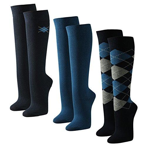 3-paar-moderne-damen-kniestrumpfe-karo-und-uni-grun-lila-schwarz-pink-blau-farbeblau-dunkelblaugross