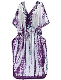 La Leela las mujeres ropa de playa cubierta blanca sin mangas Tie Dye salón rayón desgaste caftán corto hasta