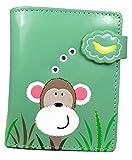 Shagwear Junge-Damen Geldbörse, Small Purse Designs: (Spähender AFFE Türkis/Peeking Monkey)