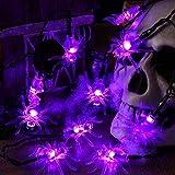 BrizLabs Spinne Halloween Lichterkette, 30 LED Lila Spinne Lichterkette Batterie Betrieben 3D Innen Beleuchtung für Weihnachten Haus Eingang Kamin Hochzeit Party Erntedankfest Fest Deko