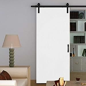 inova holz schiebet r wei 775x2065mm zimmert r komplettset offene laufschiene schwarz inkl. Black Bedroom Furniture Sets. Home Design Ideas