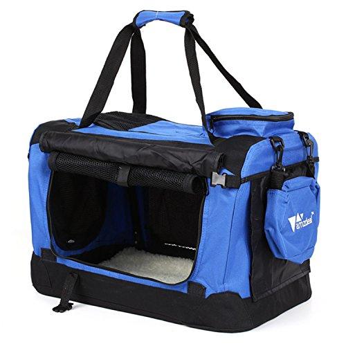Amzdeal Hundebox Katzentransportbox, Faltbare Transportbox katzen und Hunde, Klappbare Autobox Hundetransportbox, Reisebox mit Weicher Decke und Seitlichem Einstieg, 50 x 34 x 35cm, blau