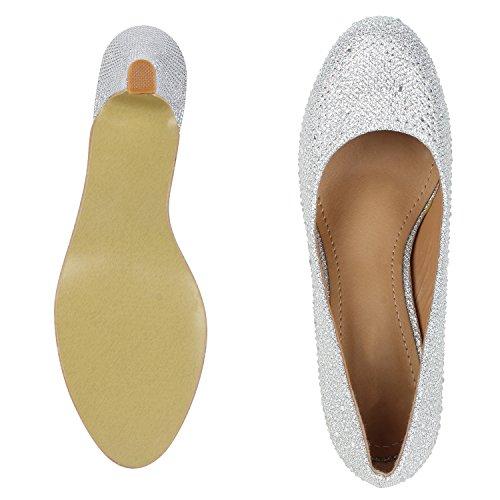 napoli-fashion Klassische Damen Pumps Strass Glitzer Party Schuhe Stiletto Mid Heels Metallic Hochzeit Abendschuhe Jennika Silber