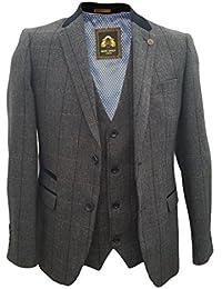 Uomo Marc Darcy Vintage Tweed A Scacchi 2 Piece Giacca   Panciotto - DX7  Carbone 36976c818f3