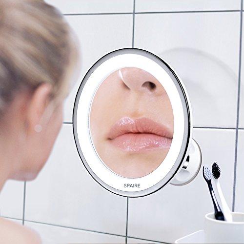 Spaire specchio con ventosa a parete ingranditore 7x con luci led illuminato per trucco da bagno - Specchio per trucco illuminato ...