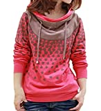 Beiläufige mit Kapuze Pullover Frauen High Neck Hoody Stylisch Drucken Pullovershirt Langarm Großformat Strickpulli Hoodie Blusen Sweatshirt Outwear (EU42, Rot)