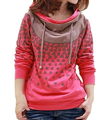 Beiläufige mit Kapuze Pullover Frauen High Neck Hoody Stylisch Drucken Pullovershirt Langarm Großformat Strickpulli Hoodie Blusen Sweatshirt Outwear (EU40, Rot) (Neck Long Sweatshirt Scoop Sleeve)