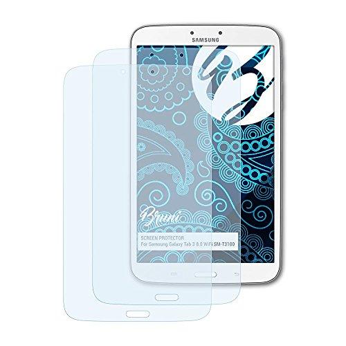 Bruni Schutzfolie für Samsung Galaxy Tab 3 8.0 WiFi SM-T3100 Folie, glasklare Bildschirmschutzfolie (2X)