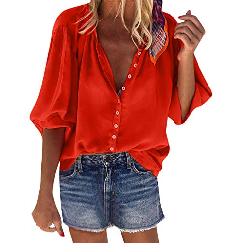 Corduroy Button Hemd (Amcool Damen Bluse Langarm V-Ausschnitt Elegant Button Einfarbig Hemd Casual Oberteile Tunika Top Lose T-Shirt Hemdbluse Elegant T-Shirt)