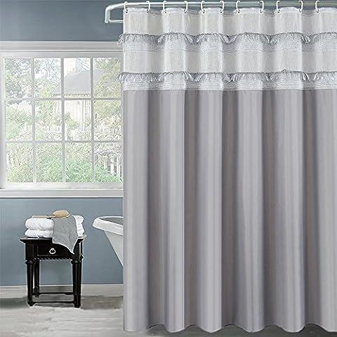 Tassel Rideau de douche, Blanc/gris/beige, Polyester, gris, 72x80