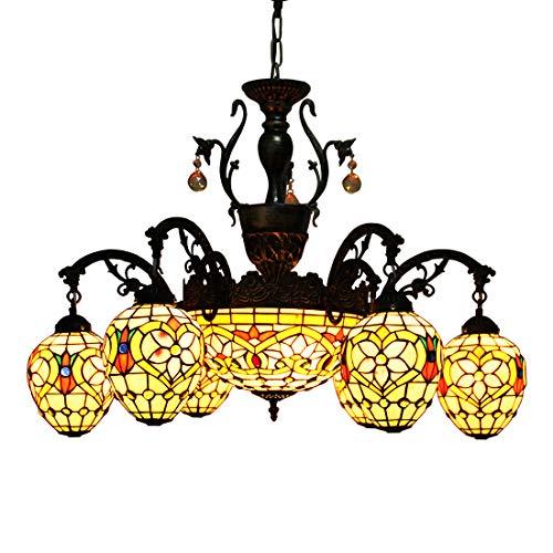 Makenier vintage style Tiffany vitrail Fleur Rose à 6 branches Lustre avec 30,5 cm inversé plafond lampe suspendue