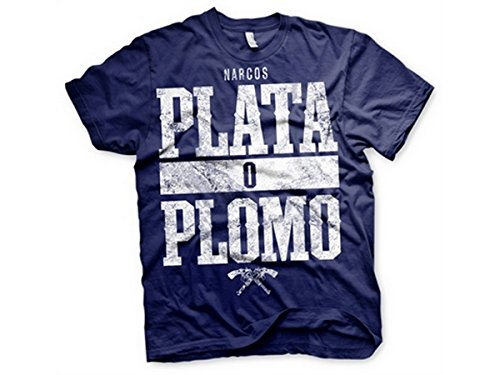 Officially Licensed Merchandise Narcos - Plata o Plomo T-Shirt (Black) Navy