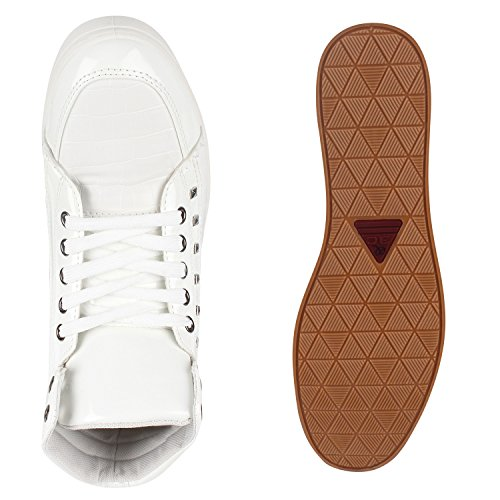 Sportliche Herren Damen Unisex Sport Schuhe Sneaker High Top Basketballschuhe Cultz 90's Style Weiss Nieten