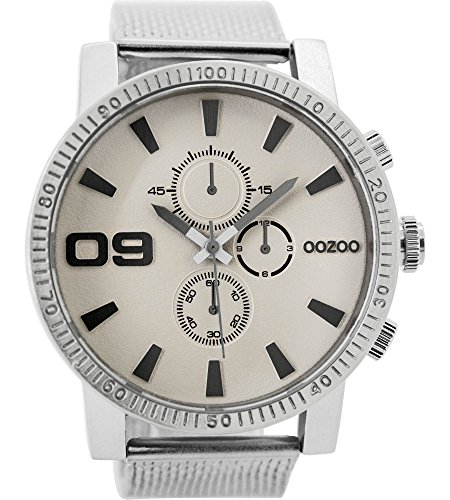 Oozoo Herrenuhr mit Metallband 50 MM Beige/Silberfarben C9436