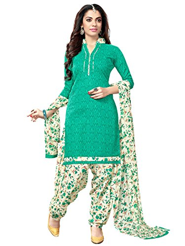 Kanchnar Women's Cotton Dress Material (487D2004_Green_Free Size, Unstitched)