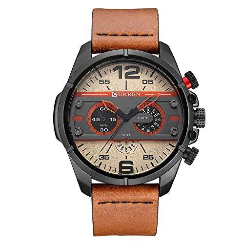 Herren Jacke Randon Einzigartiges Design Military Lederband Analog Quarz Sport wasserdicht Uhren
