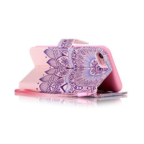 Coque iPhone 7, Étui en cuir pour iPhone 7, Lifetrut [Cash Slot] [Porte-cartes] Magnetic Flip Folio Wallet Case Couverture avec sangle pour iPhone 7 [Rayures & Coeurs] E210-Mandala