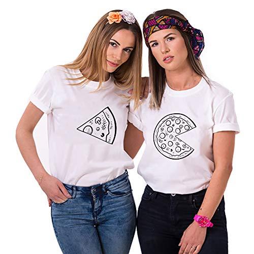 Sister Shirts Best Friends T-Shirts Für 2 mit Aufdruck Pizza BFF Damen Sommer Oberteil 2 Stücke Couple Shirt BFF Geburtstagsgeschenk