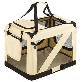 TecTake Cage sac box caisse de transport pour chien chat mobile L pliable beige 69x50x52cm