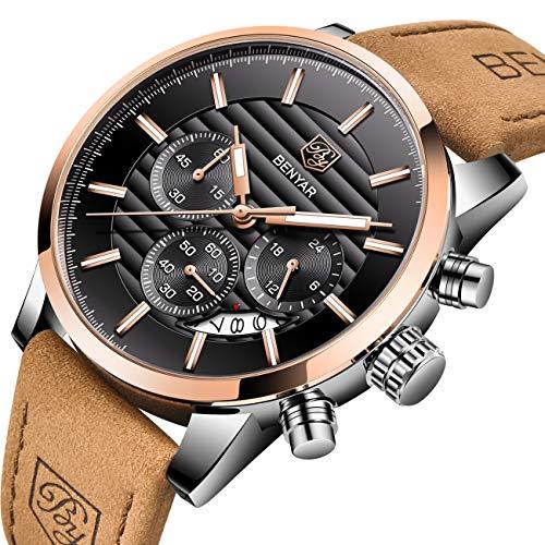 BENYAR Herrenuhr, Chronograph Quarz Leder wasserdicht Edelstahl-Uhr, Kalender Business Casual Luxus-Mode-Uhr(Rotgold schwarz)