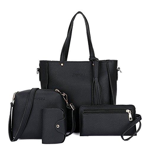 wlgreatsp Damen Handtasche + Schultertasche + Geldbörse + Kartenhalter 4er Set Tote Handtasche Kosmetiktasche (Farbe Handtasche Multi Geldbeutel,)