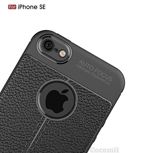 iPhone SE / 5S / 5 Hülle, Cocomii Ultimate Armor NEW [Heavy Duty] Premium Leather Pattern Slim Fit Shockproof Hard Bumper Shell [Military Defender] Full Body Dual Layer Rugged Cover Case Schutzhülle A Black