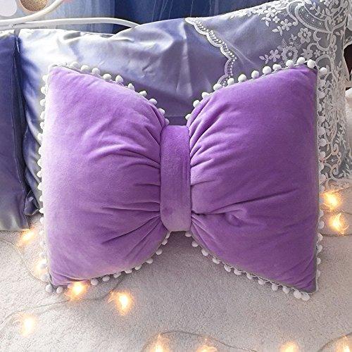 Baozengry Schöne Kugel Bug Kissen Waschbar Bett Sofa Kissen, Kissen (Ohne Decke) 55 X 43 Cm, Deep Purple Texturierte Bow Tie -