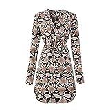 HCFKJ Kleid, Damen V-Ausschnitt Snake Print Kleid Damen Langarm Party Minikleid (S, BW)