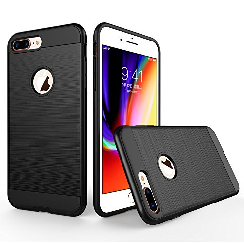 UKDANDANWEI Apple iPhone 7 Plus Hülle,Super Schild Hohe Gel Silikon Haut Slim Fit Zurück Schale Abdecken Schutzhülle Case Cover für Apple iPhone 7 Plus - Weiß Schwarz