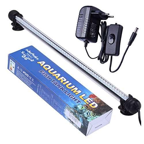 Led-aquarium-lichter 48 (Tingkam® 48CM 57LED Weiß Wasserdicht IP68 Fische Licht Aquarium Light Aquariumleuchte Unterwasser)