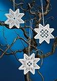 Baumschmuck Hardanger - 3 Sterne --- 9x10cm - Gewebe und Garn 100% Baumwolle