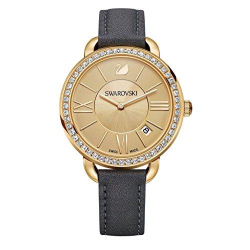Swarovski aila day orologio al quarzo da donna con display analogico in oro e nero cinturino in pelle 5221141