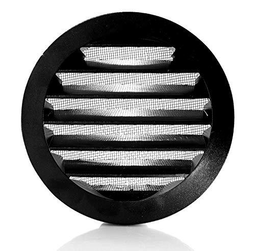 Klimapartner WSGB 80 - Rejilla de Ventilación Redonda Negra Aluminio