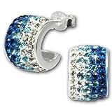 SilberDream Glitzer Creole Beauty blau/weiße Preciosa Glitzer Kristalle 925 Sterling Silber Ohrringe GSO010B